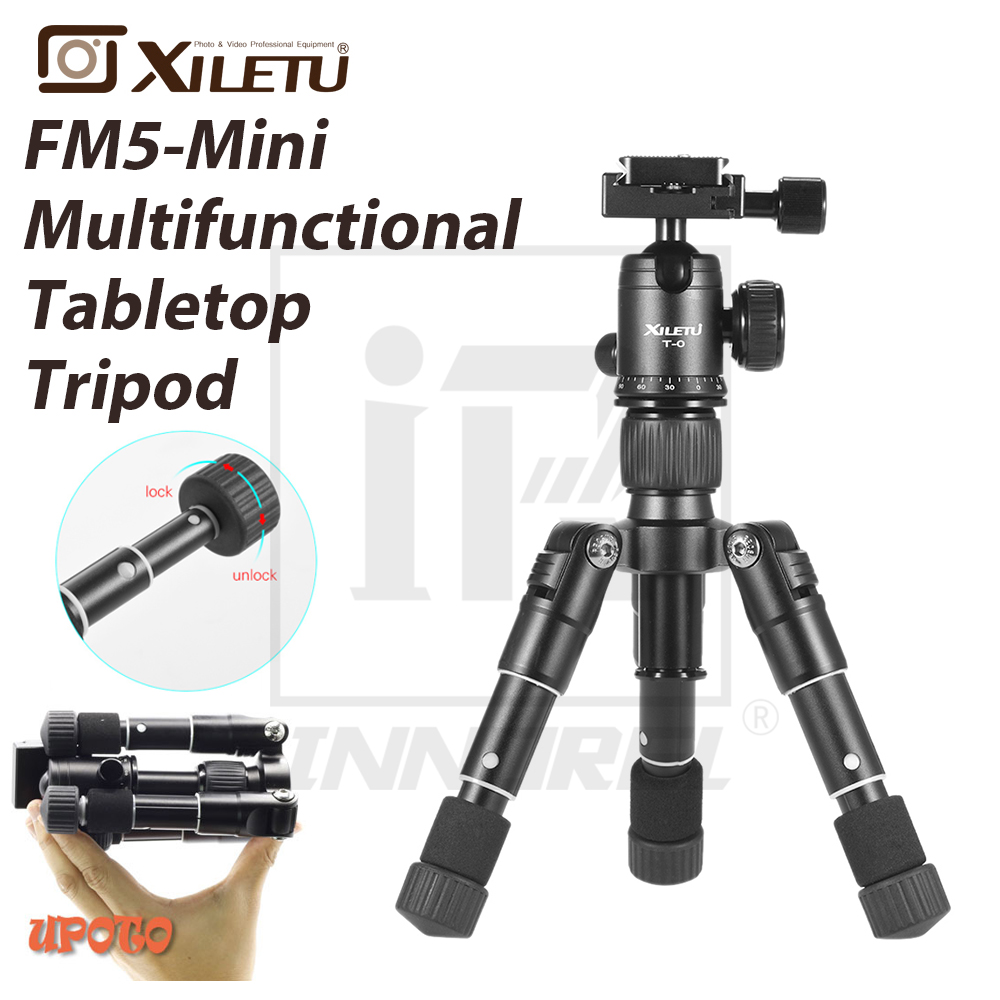 Xiletu FM5-MINI Multifunctional Tabletop Tripod Desktop Aluminum Portable Compact Bracket Ball Head Clip For Camera Cellphone