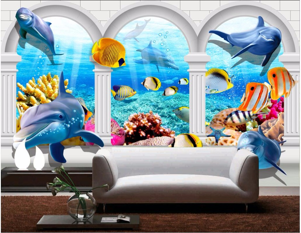 Custom photo 3d wallpaper Dolphin of the sea of Rome fish landscape home decor on a wall 3d wall murals wallpaper for bedroom new fine fabric texture wall of setting of the bedroom a study wallpaper of europe type style yulan wallpaper fashion pavilion