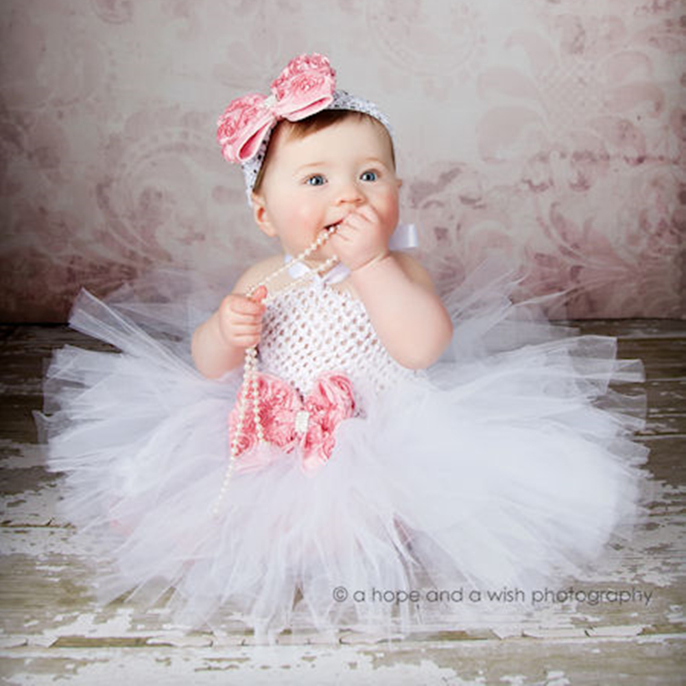 Girl Baby Party Tutu Dress Flower Double Layers Fluffy Purple White