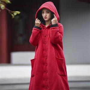 Image 5 - Johnature abrigos de lino y algodón femenino para mujer, Parkas con capucha y botones, ropa cálida y gruesa Vintage, abrigos de talla grande para mujer 2020