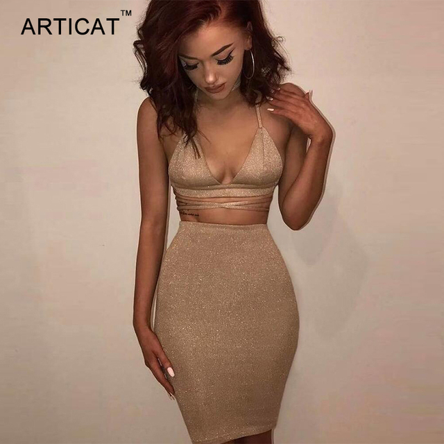 4158581c5236 Articat Sexy Shiny Bandage Bodycon Dresses 2017 Summer Lace Up Two Piece  Party Dresses Deep V