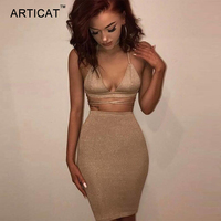 Articat Sexy Shiny Bandage Bodycon Dresses 2017 Summer Lace Up Two Piece Party Dresses Deep V