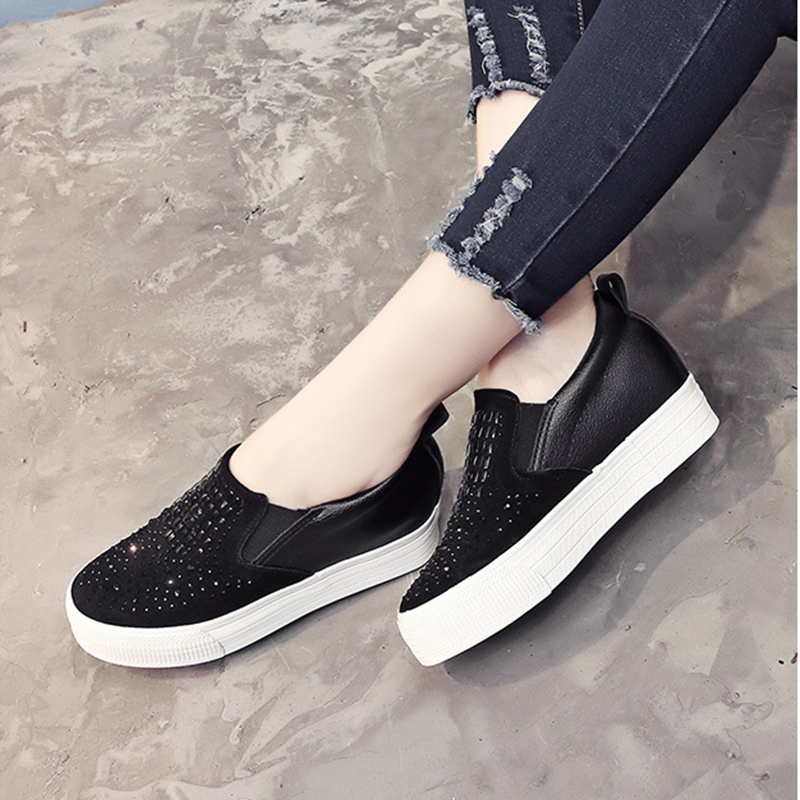 Bling Black Sneakers Causalité D'été Automne Mujer Chaussures white Femmes 2018 Grand Mode Xwd6776 Appartements Hee amp; Vamp Slip on Nouvelles Mocassins De 0pBqORw