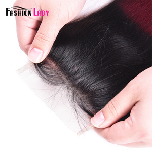Image 3 - אופנה ליידי מראש בצבע פרואני שיער טבעי תחרה סגירת Ombre T1B/99j 4x4 inch ישר Weave סגירה ללא רמי