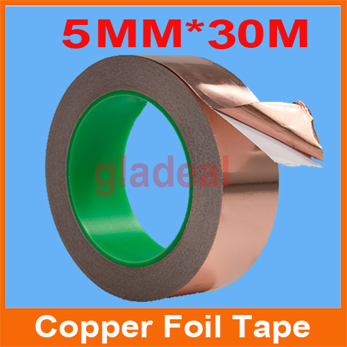 5MM*30M*0.06mm Industry Adhesive Electric Conduction Copper Foil Tape EMI Shielding Barrier Cellphone LCD Computer Repair