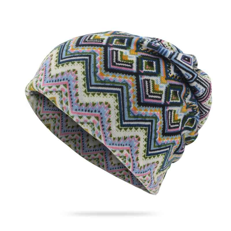 WZCX 2019 New Geometric Stripe Unisex Tide Casual Knitted Hat Fashion Vintage Spring Summer Beanie Adult Cap