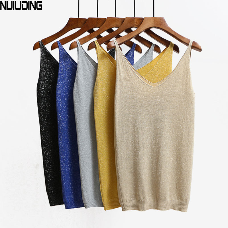 NIJIUDING Sexy Knitted   Tank     Tops   Vest 2017 Sequined V Neck   Tank     Tops   Sleeveless Tshirt Women Solid Camis Fitness Dropshipping