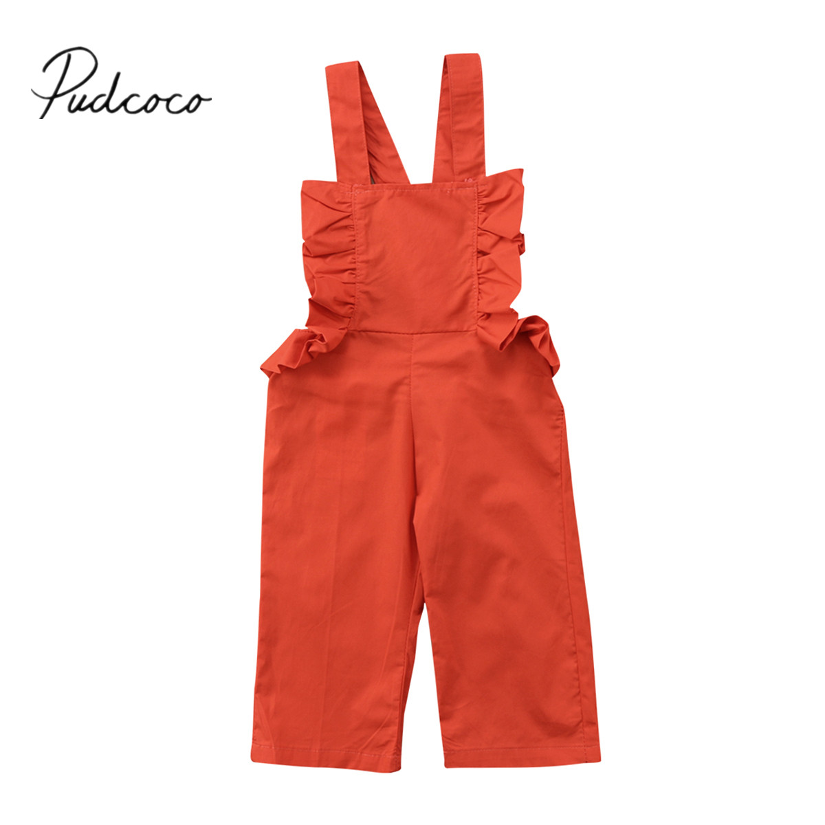 2018 Brand New Toddler Infant Child Kid Baby Girls Wide Leg Trousers Strap Jumpsuit   Romper   Backless Sunsuit Ruffled Outfit 1-6T