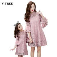 V TREE Lace Mother Daughter Dresses Horn Sleeve Matching Mother Daughter Dress Clothes Fashion Family Look