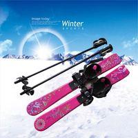 Children Snowboard Ski Set Kit Skiing Board STC Children's Sled Sleigh Binding with Ski Pole 69CM for Boy Girl Kids