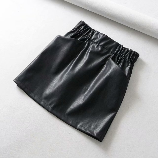 Women Skirts  Above Knee Mini Women's double pocket elastic waist PU Faux leather skirt Jupe Femme Faldas Mujer 6