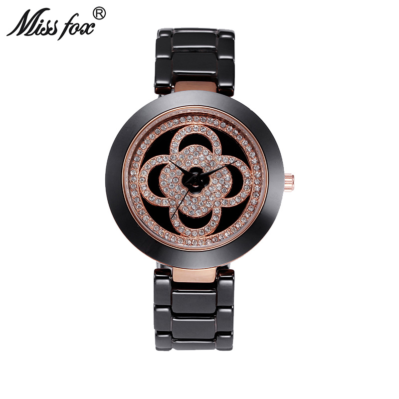 Miss Fox Clover Black Ceramic Watch Women Rhinestone Dress Women Rose Gold Watch Fashion Carnaval Shockproof Waterproof Watch недорго, оригинальная цена