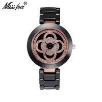 Miss Fox Clover Black Ceramic Watch Women Rhinestone Dress Women Rose Gold Watch Fashion Carnaval Shockproof Waterproof Watch