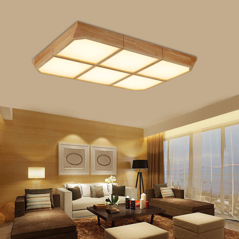 Japanese Wooden Ceiling Lights Square Intelligent Lamps And Lanterns Bedroom  Sitting Room Wedding Room Study Room Room LU818385 In Ceiling Lights From  ...