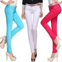 Colorato per il tempo libero pantaloni lunghi all'ingrosso di colore della caramella matita pantaloni collant estate mostra le gambe sottili pantaloni stretch jeans