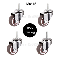 4PCS Mini 1 Mute Wheel Loading 20kg Replacement Swivel Casters Rollers Wheels With M6 15 Screw