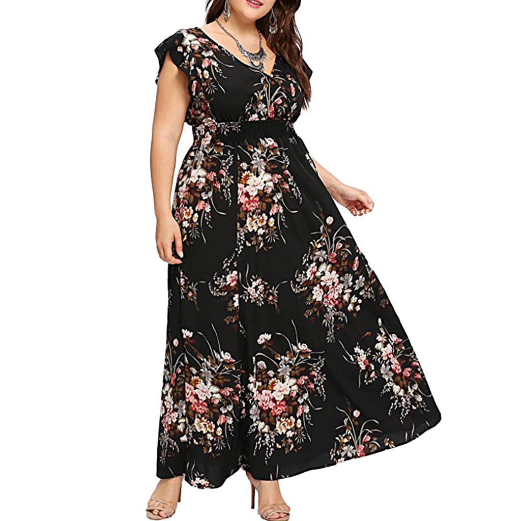 Women Plus Size Summer V Neck Floral Print Boho Sleeveless Party Dress l colorful comfortable breathe fashion 1