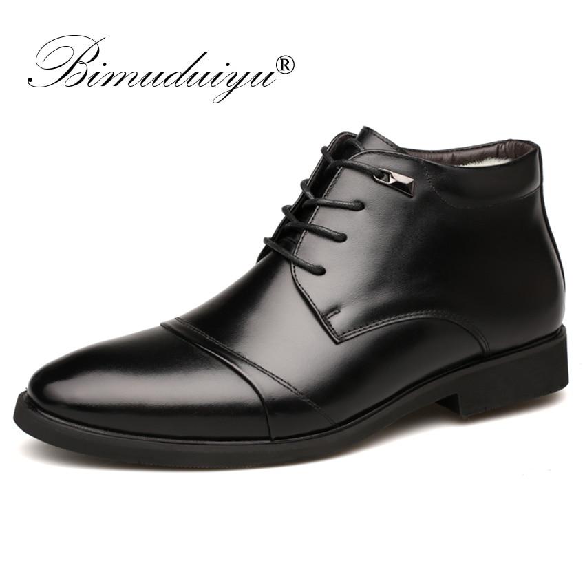 BIMUDUIYU ciepłe z futra męskie botki moda mężczyzna biznes biuro buty skórzane wizytowe Pointed Toe mężczyźni zimowe buty w Obuwie robocze i ochronne od Buty na AliExpress - 11.11_Double 11Singles' Day 1