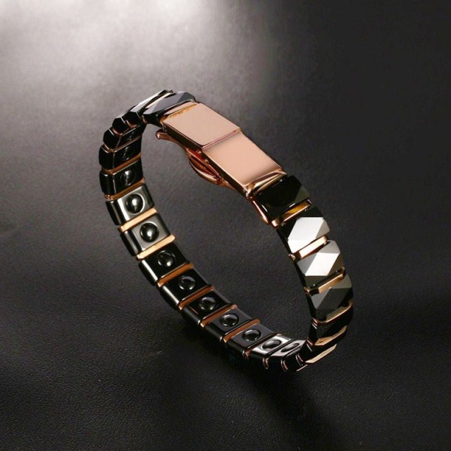 Stainless Steel 2-Tone Ceramic Magnetic Therapy Bracelet