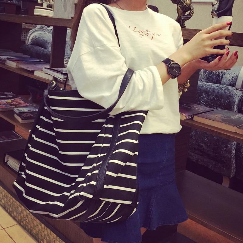 0d34cfd583 2017 New Girl Leisure Summer Canvas Shopper Shoulder Bag Striped Beach Bags  Big Capacity Tote Women Ladies Casual Shopping Bolsa