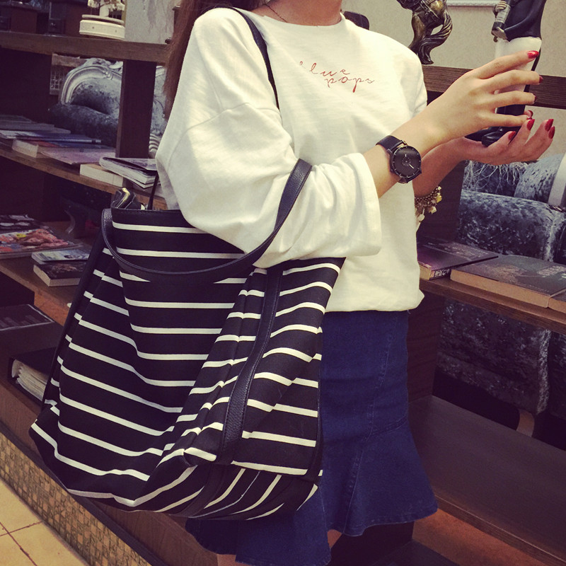 2018 New Girl Leisure Summer Canvas Shopper Shoulder Bag Striped Beach Bags Big Capacity Tote Women Ladies Casual Shopping Bolsa casio mtp 1308sg 7a