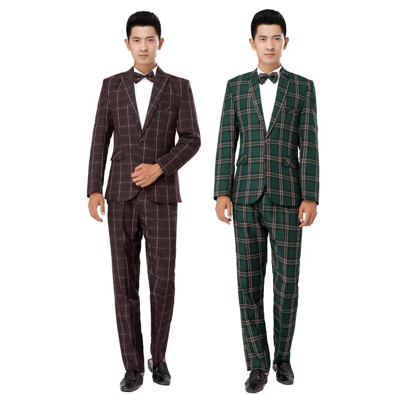 2016 new Photography suit men Korean version of Slim British style font b Tartan b font