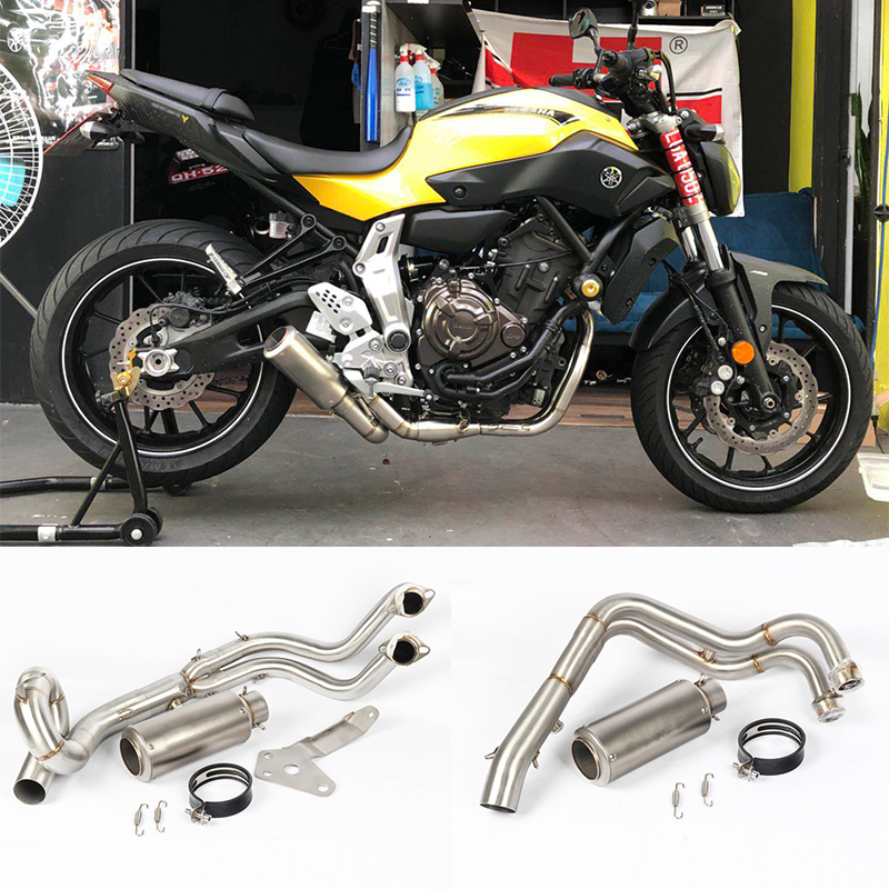Slip On For Yamaha MT07 FZ-07 MT-07 2013 - 2017 Motorcycle Exhaust Escape  Full System Modified Front Middle Link Pipe Muffler
