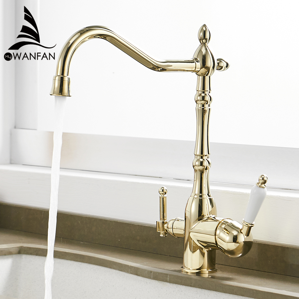 Kitchen Faucets Deck Mounted Torneira Cozinha Mixer Tap 360 Degree Rotation With Water Purification Crane For Kitchen WF-0193K