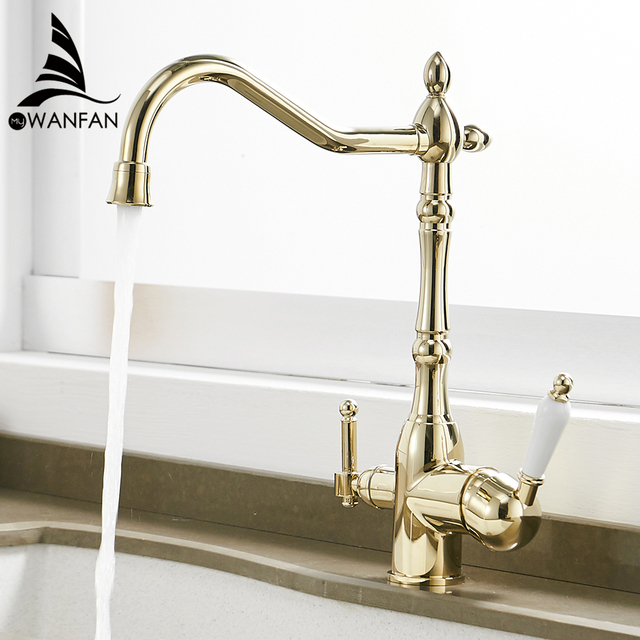 Kitchen Faucets Deck Mounted Torneira Cozinha Mixer Tap 360 Degree Rotation with Water Purification Crane For Kitchen WF 0193K