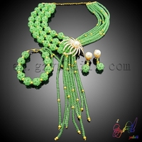 New Popular Beads Necklace Set Women Fashion Jewelry Wholesale Party Jewelry Necklace Bracelet African Jewelry Sets