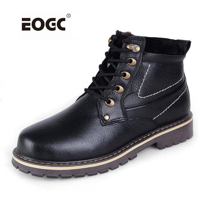 Potpuno prave kože muškarci čizme plus veličine vrhunske kvalitete krava koža zimske cipele u selu stil muškarci snijeg čizme vodootporan muškarci cipele