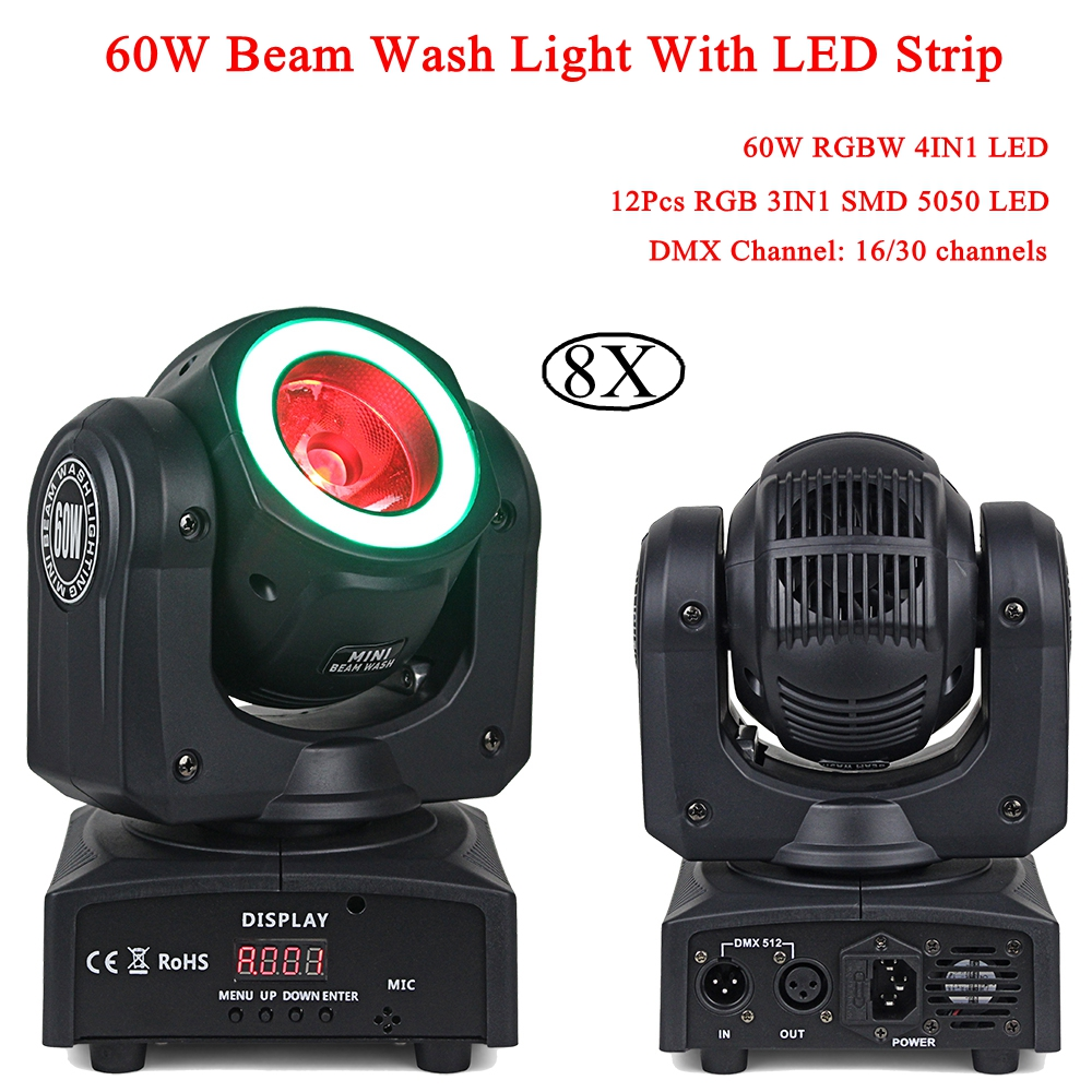 Disco Light RGBW 60W LED Moving Head Light DJ Beam Wash Lighting With RGB LED Strip Powerful Beam Wash 2IN1 DMX512 Stage Light tiptop tp l682 crazy beam 40 fusion led moving head beam light 40 watt quad rgbw with led ring dmx512 for stage light disco rgb