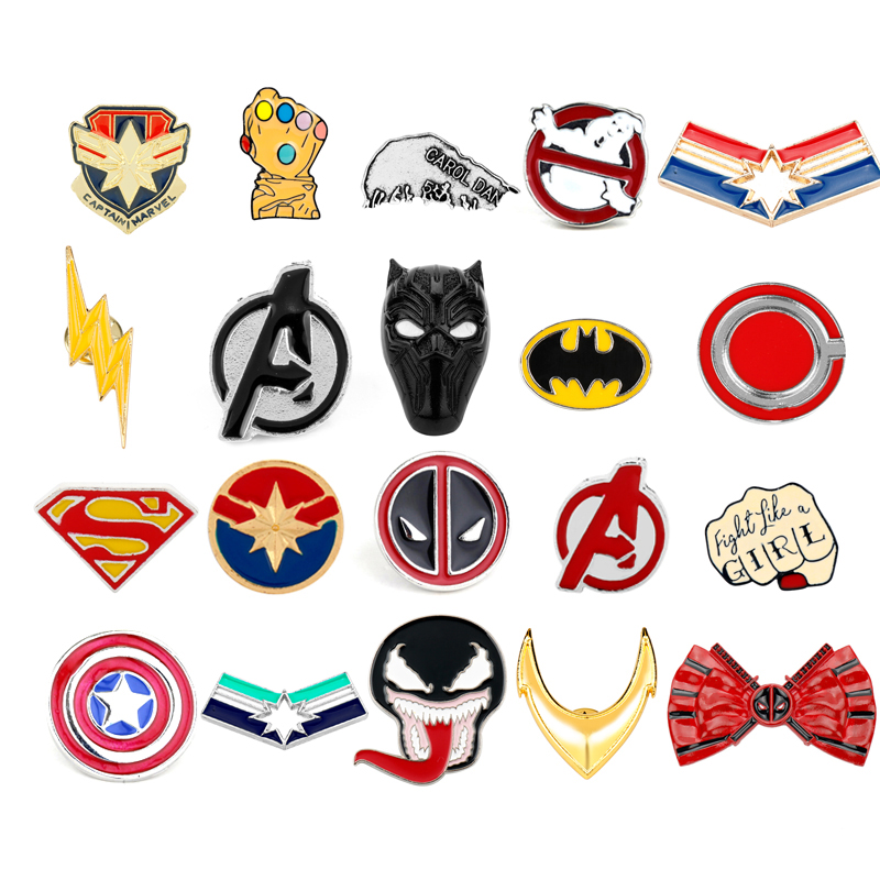 Avengers Endgame Brooches Marvel Comics Captain American Marvel Thanos Infinity Gauntle Pin Brooches Badge Cosplay Jewelry Gifts
