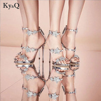 2018 Summer Celebrity Style Runway Crystal Sandals Women Silver Black Star Crystal High Heels Shoes Lady Party Wedding Pumps