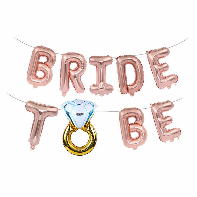 Wedding Decoration Rose Gold Bride To Be Letter Balloon Diamond Ring Mr Mrs Groom Team Bridal Shower Bachelorette Party Supplies