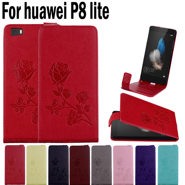 Rose Flowers Phone Cases For Huawei P8 lite Cover PU Leather Wallet Bus Card Slot Flip 3D Rose Pattern For Huawei ALE-L21 Case