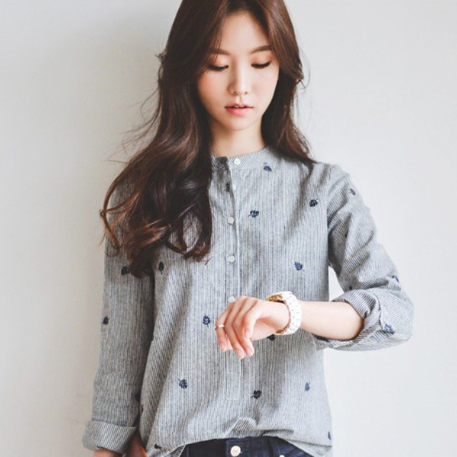Autumn Shirt Leaves Embroidery Long Sleeve Women Blouses Female Ladies Casual Shirts Women Tops Striped