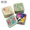 Металлические швейные наборы  коробка  иглы  нитки  кнопки  ножницы  наперсток  многофункциональные  для путешествий  необходимые швейные ин...