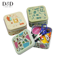 Metal Sewing Kits  Box Needles Threads Buttons Scissors Thimble Multi-function Home Travel Necessary Sewing Tools Christmas Gift