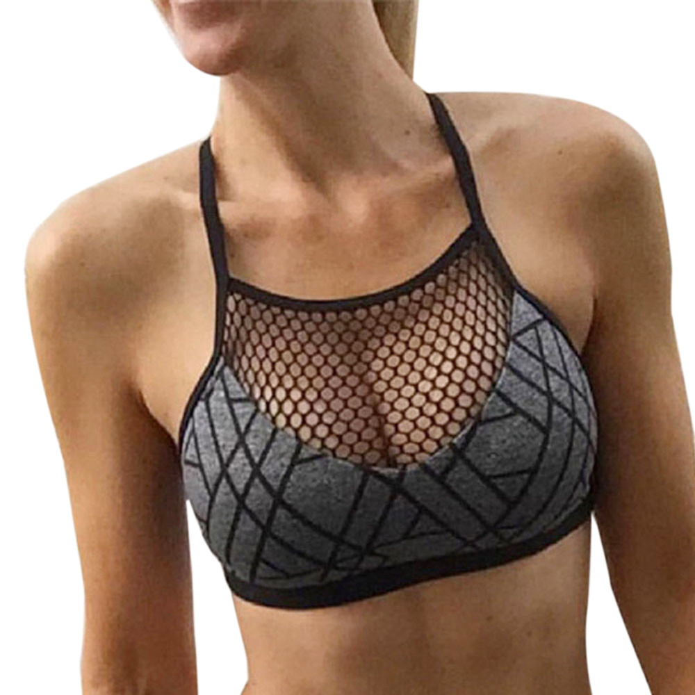 Grijze Kleur Nieuwe Vrouwen Print Athleisure Bh Hemdje Hot Yoga Mesh Vest Korte Blouse Gym Top Voor Dropshipping