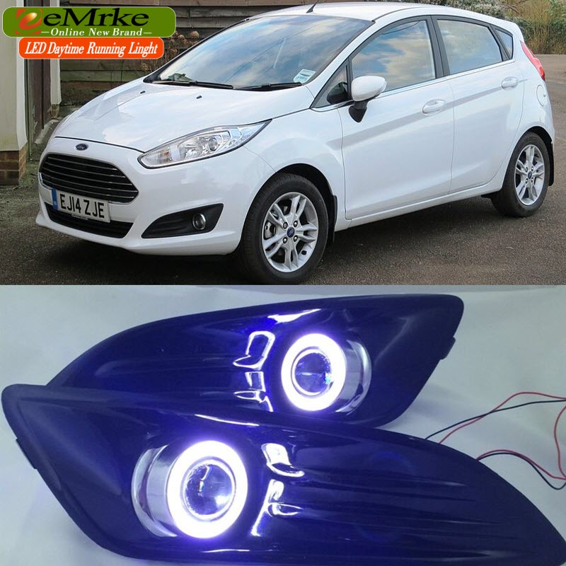 Car Styling Cob Drl For Ford Fiesta 2014 2015 2016 Led