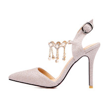 Chainingyee summer party sexy pointed toe sandals buckle beading chain silver gold purple high heels women's shoes(China)