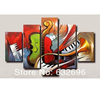 Holiday Sale 100% hand painted discount abstract music paintings wall art 5 panel canvas home decor free shipping canvas art