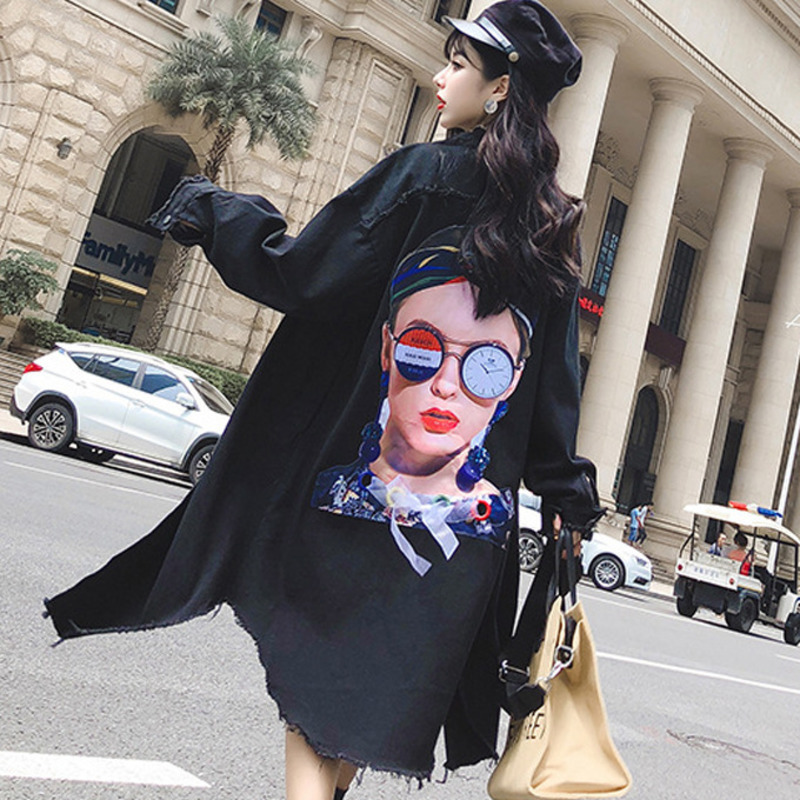 #3105 2019 Spring Loose Black Long Denim Jacket Women Windbreaker Oversized Loose Plus Size Back Cartoon Girls Streetwear Punk
