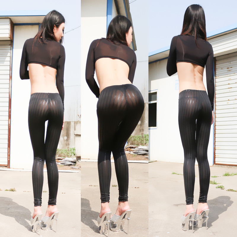 Sexy Bande Noire Sheer Leggings Hot Pants Femmes Pantalons