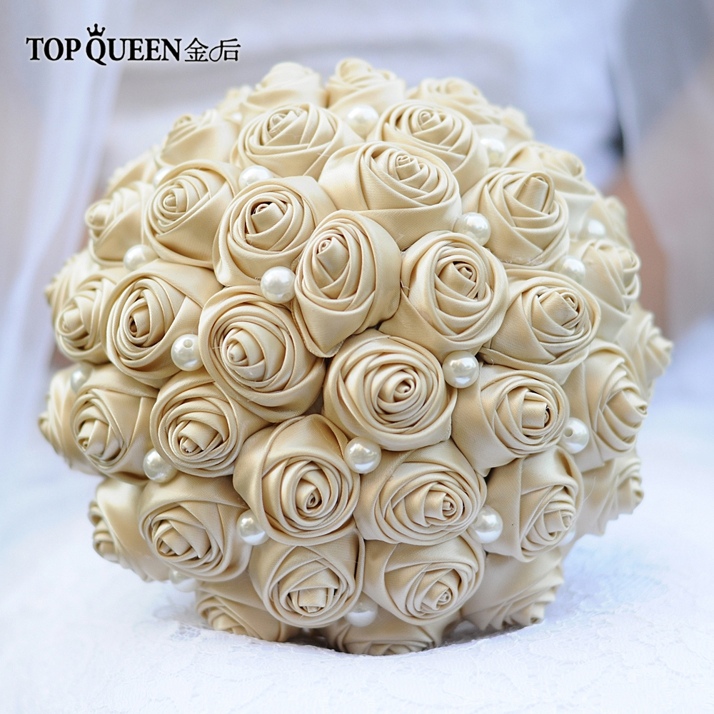 TOPQUEEN F3-CP Bridal Bouquets One Set Artificial Flower Champagne Wedding Bouquet In Stock Stunning Handmade Flowers Bridesmaid