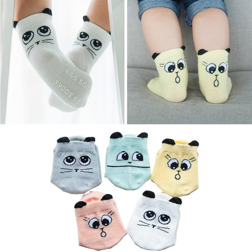 Toddler sock Baby Boy Girl Socks anti slip Cute Cartoon Cat Ear Skid Resistance leg warmers For newborns infantile 2016 Newborn