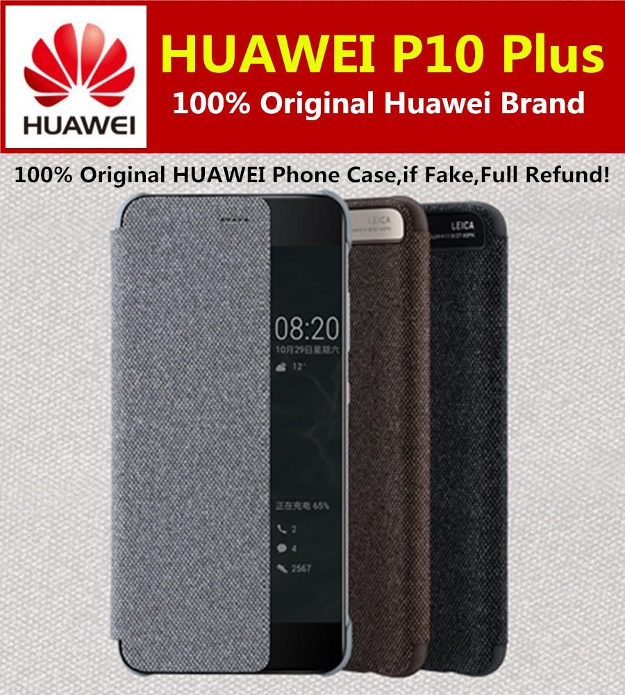 imágenes para 100% Original HUAWEI P10 Plus Caso Smart View Tirón de La Cubierta de Lujo Funda de cuero Para Huawei P10 PLUS coque Cajas Del Teléfono de 5.5 pulgadas