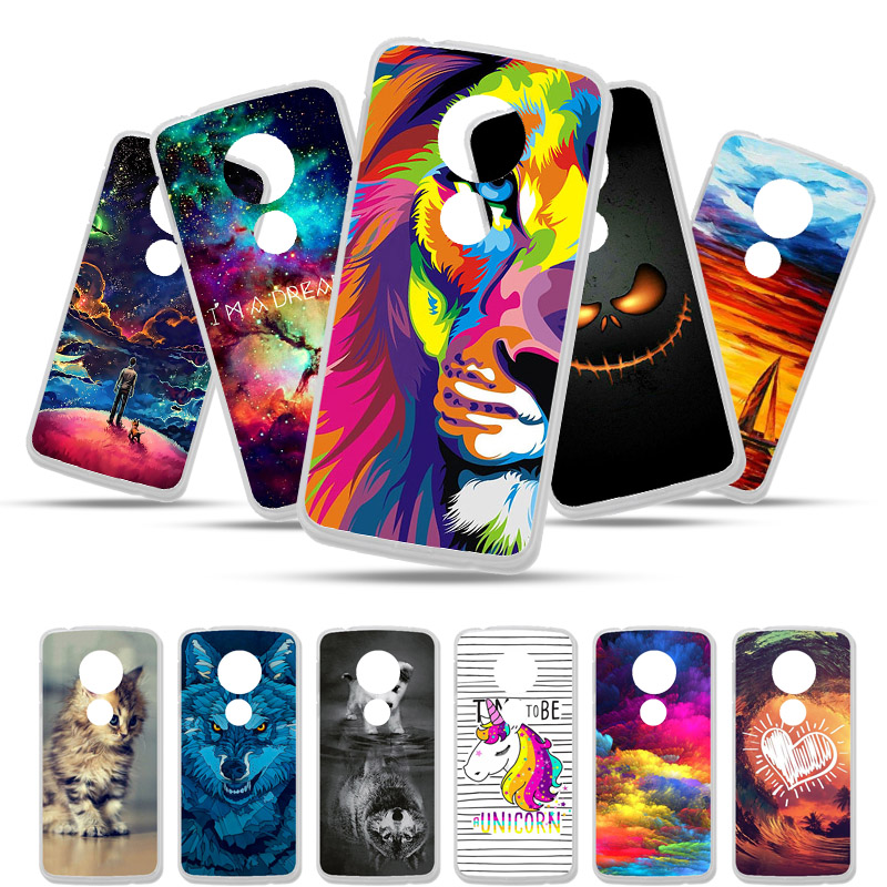 Bolomboy Painted Case For Moto G6 Play Case Silicone Soft TPU Cases For Moto E5 G6 Plus Cover Wildflowers Cute Animal Bags