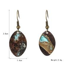 2019 Vintage Metal Patina Earrings for Women Copper Pendant Bohemian Water Droplets Earring Jewelry
